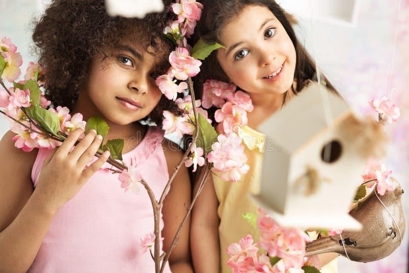 Dwa ślicznej dziewczyny z różowymi kwiatami fotografia stock