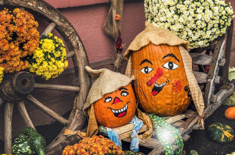 Dwa śmieszna bania dla Halloween zdjęcie stock