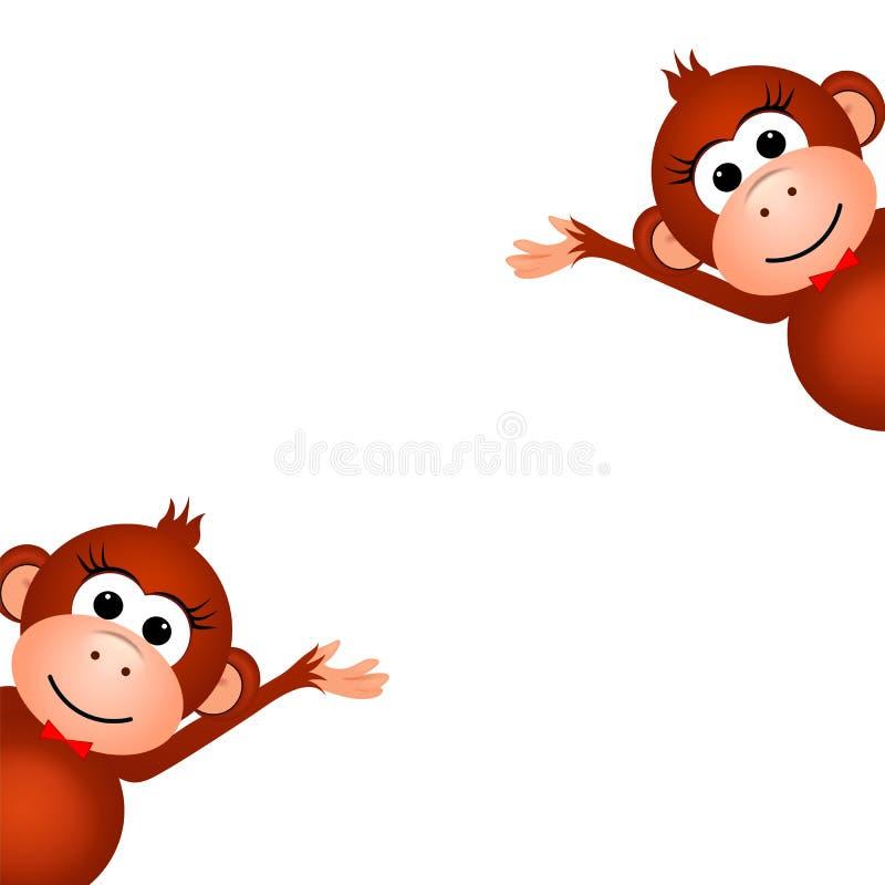 Dwa śmieszna małpa ilustracja wektor