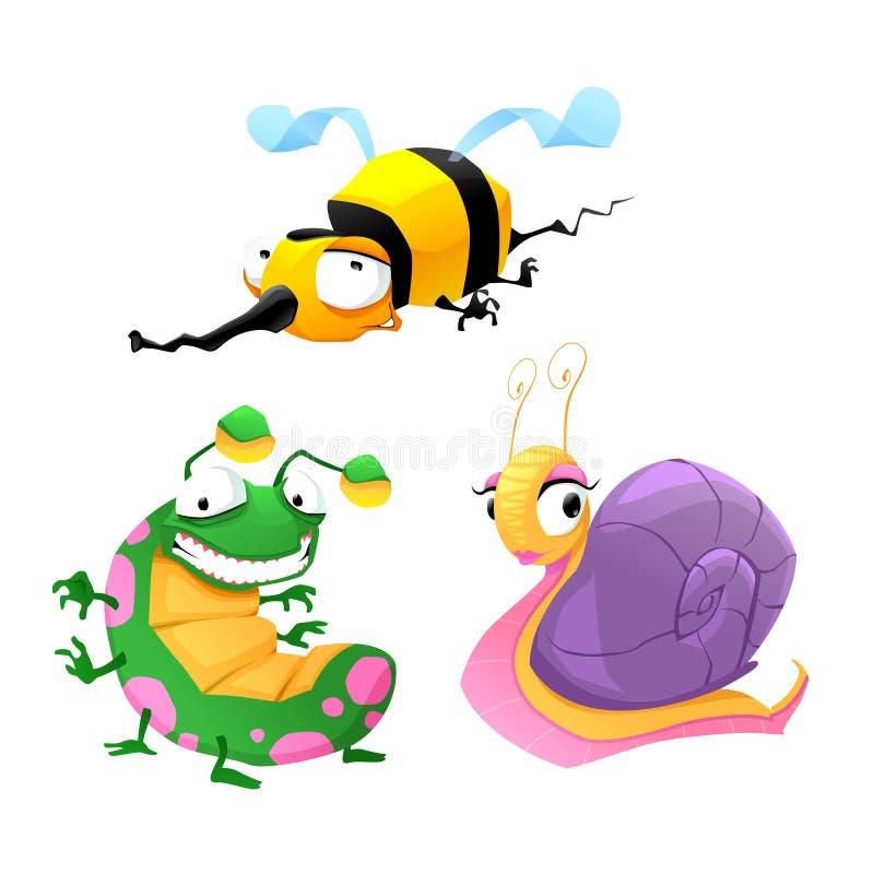 Dwa śmiesznego insekta i jeden ślimaczek. ilustracji