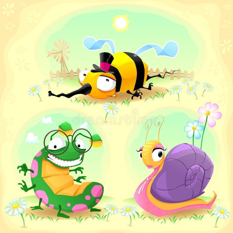 Dwa śmiesznego insekta i jeden ślimaczek. z tłem. ilustracja wektor