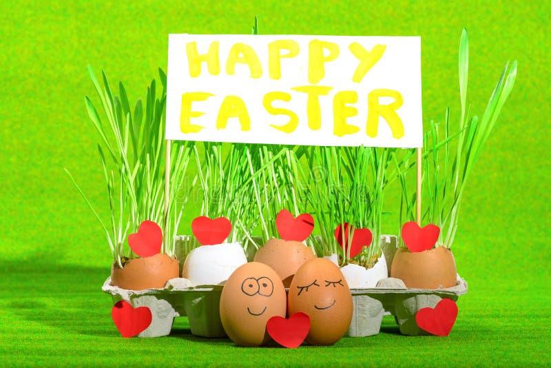 Dwa śmiesznego jajka świętuje Easter royalty ilustracja