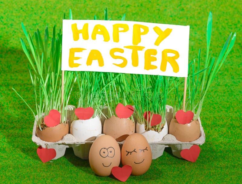 Dwa śmiesznego jajka świętuje Easter ilustracja wektor