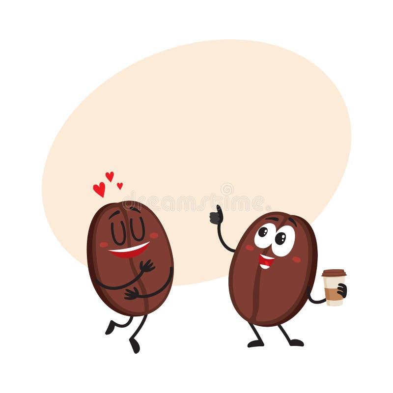 Dwa śmiesznego kawowej fasoli charakteru, pokazywać miłości, daje kciukowi up ilustracja wektor