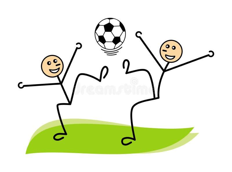 Dwa śmieszny fantastyczny abstrakcjonistyczny mężczyzna z futbolem, piłką nożną/ wektor royalty ilustracja