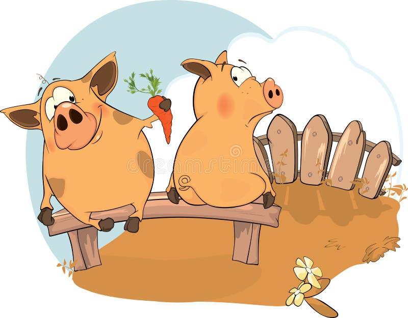 Dwa świni ilustracji
