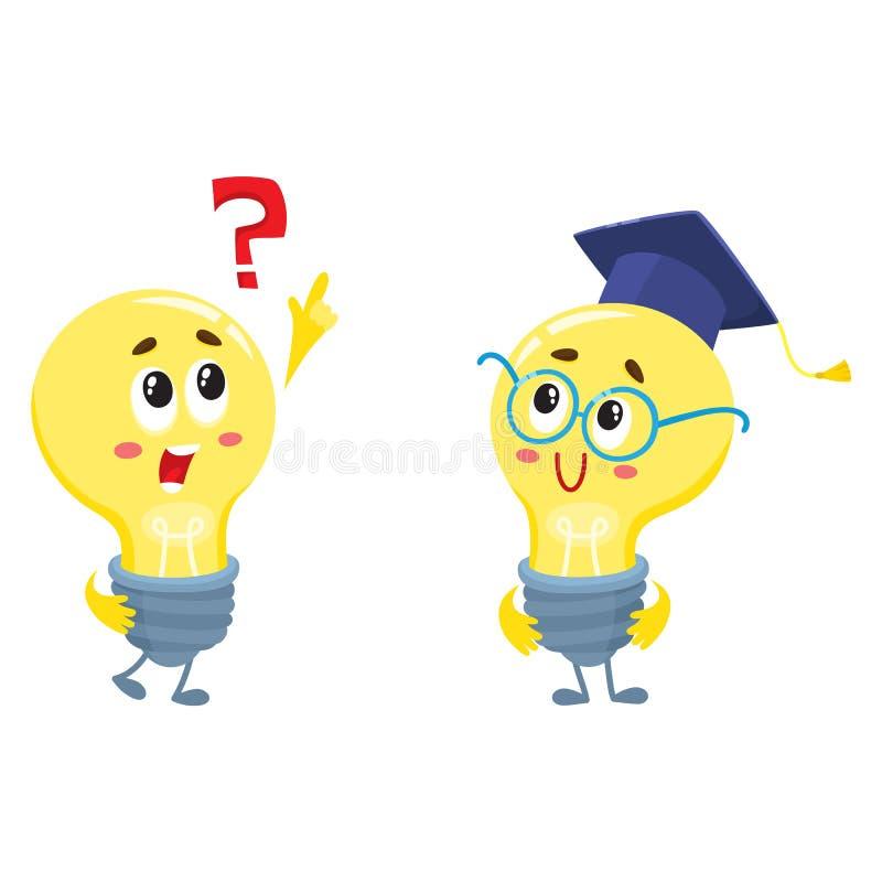 Dwa żarówka charakteru, jeden pyta pytanie, inni jest ubranym szkła ilustracji