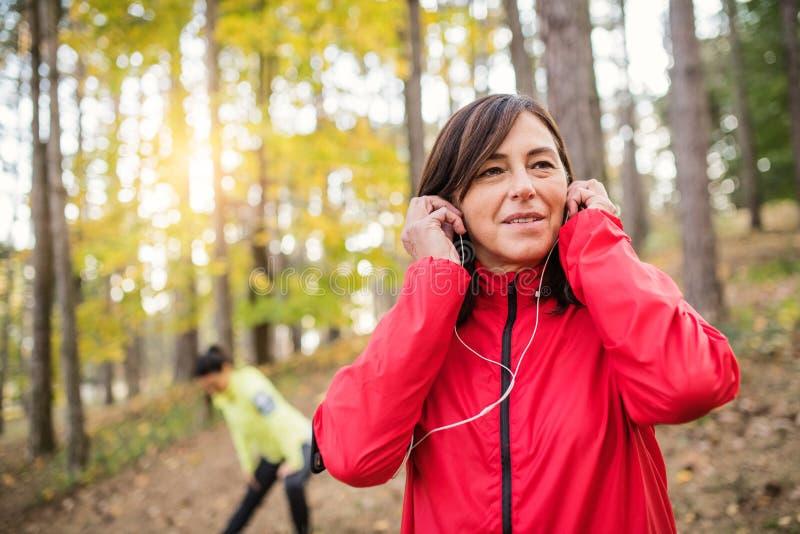 Dwa żeńskiego biegacza rozciąga outdoors w lesie w jesieni naturze zdjęcia stock