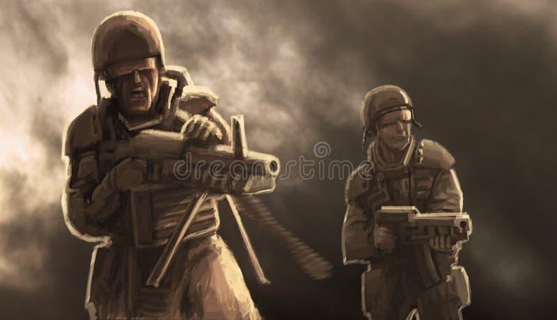 Dwa żołnierza walczą ilustracja wektor