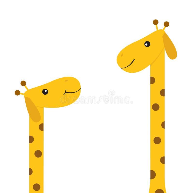 Dwa żyrafy z punktem matka dziecka Zoo zwierzę Śliczny postać z kreskówki długa szyi Dzicy sawannowi dżungla afrykanina zwierzęta royalty ilustracja