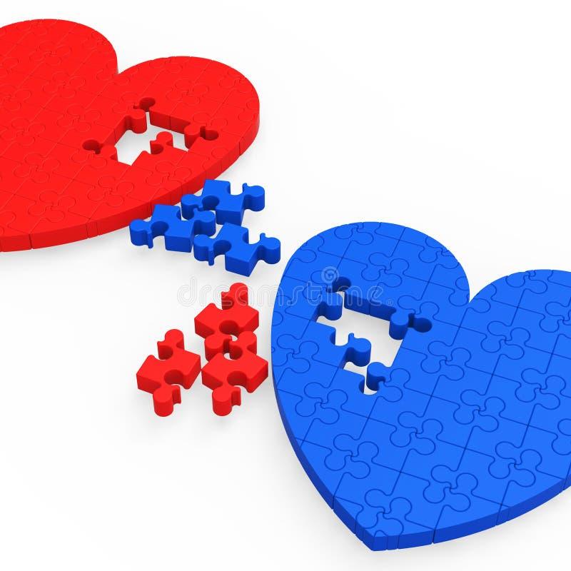 Dwa 3D serca Pokazuje miłość partnerów ilustracji