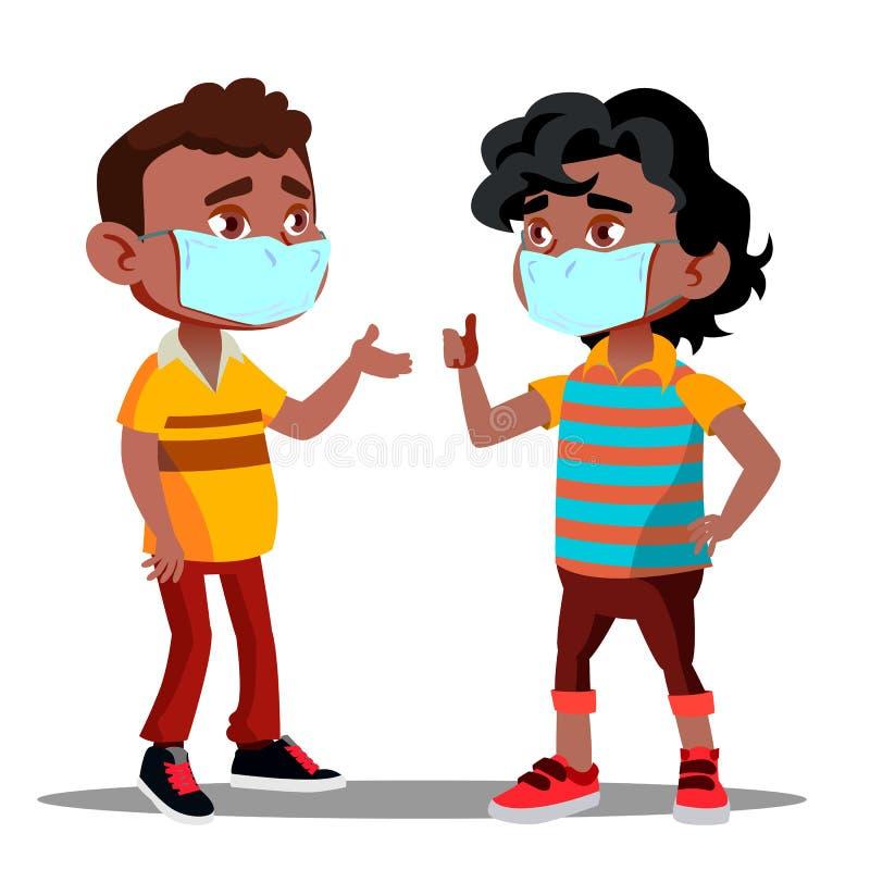 Dwa Afro Amerykańskiej chłopiec Z Medycznymi maskami Na Ich twarzach Podczas Kwarantannowego wektoru button ręce s push odizolowa royalty ilustracja