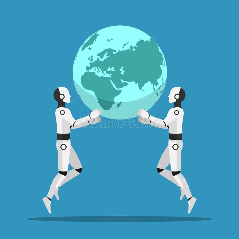 Dwa Ai robota pomoc wpólnie podnosić świat ilustracja wektor