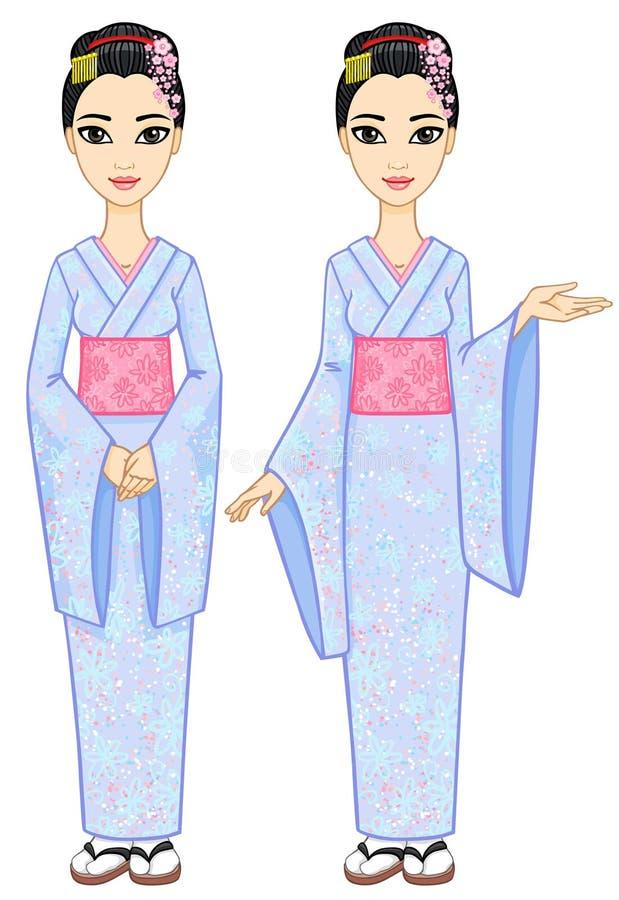 Dwa animacja japończyka dziewczyny ilustracji