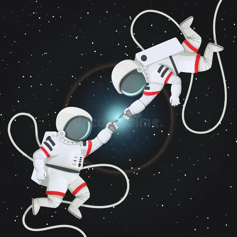 Dwa astronauta dosięga each inny w przestrzeni z postronkami romantyczna scena ilustracji