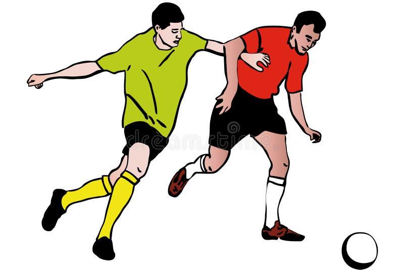Dwa atleta futbolisty bawić się futbolową rywalizację ilustracji
