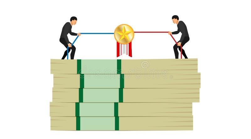 Dwa atrakcyjnego charakteru z błękitną i czerwoną arkaną ilustracja rywalizacji dwa ludzie dostaje złoto gwiazdy szpilki na stosi ilustracja wektor