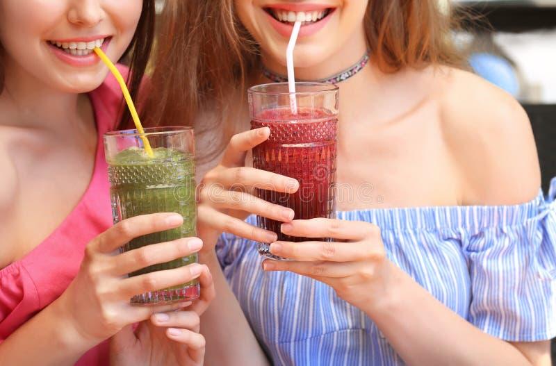Dwa atrakcyjnej damy cieszy się świeżego smoothie fotografia stock