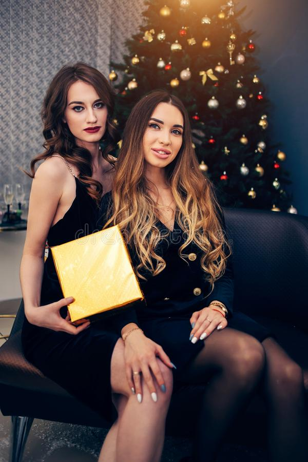 Dwa atrakcyjnej seksownej wspaniałej kobiety z prezenta pudełkiem na tle choinka zdjęcia royalty free
