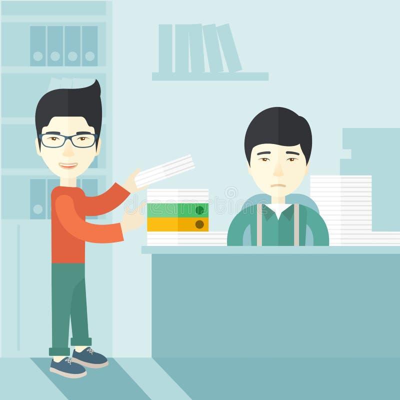 Dwa azjatykci biurowy urzędnik wśrodku biura ilustracja wektor