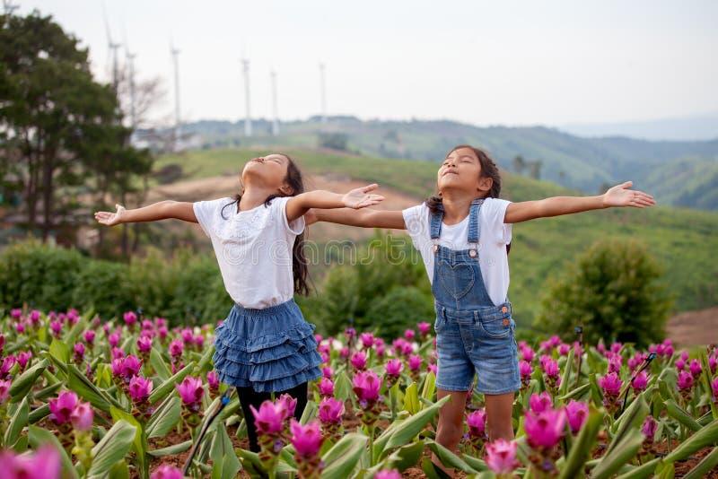 Dwa azjatykciej dziecko dziewczyny podnoszą ich ręki w kwiatu ogródzie wpólnie fotografia stock