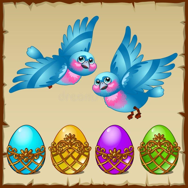 Dwa błękitnego ptaka z barwionymi jajkami w złotym stojaku ilustracji