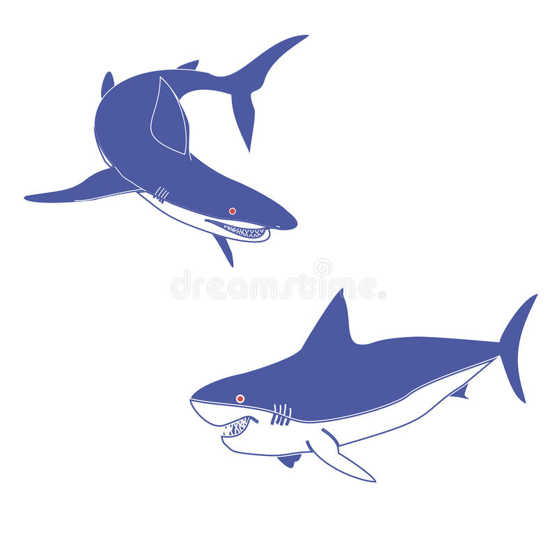 Dwa błękitnego rekinu royalty ilustracja
