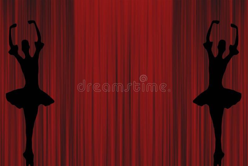Dwa baletniczej baleriny tanczy na pointe butów sylwetkach na czerwonym teatrze reżyserują zasłony tło ilustracji