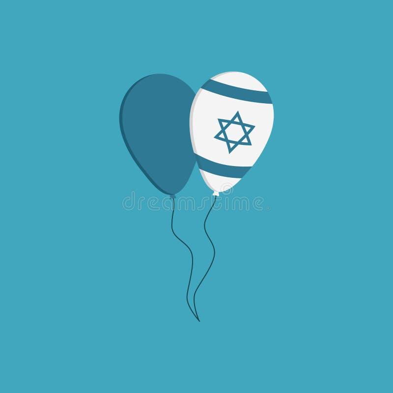 Dwa balonów ikona w płaskim projekcie z Izrael dniem niepodległości ho ilustracja wektor