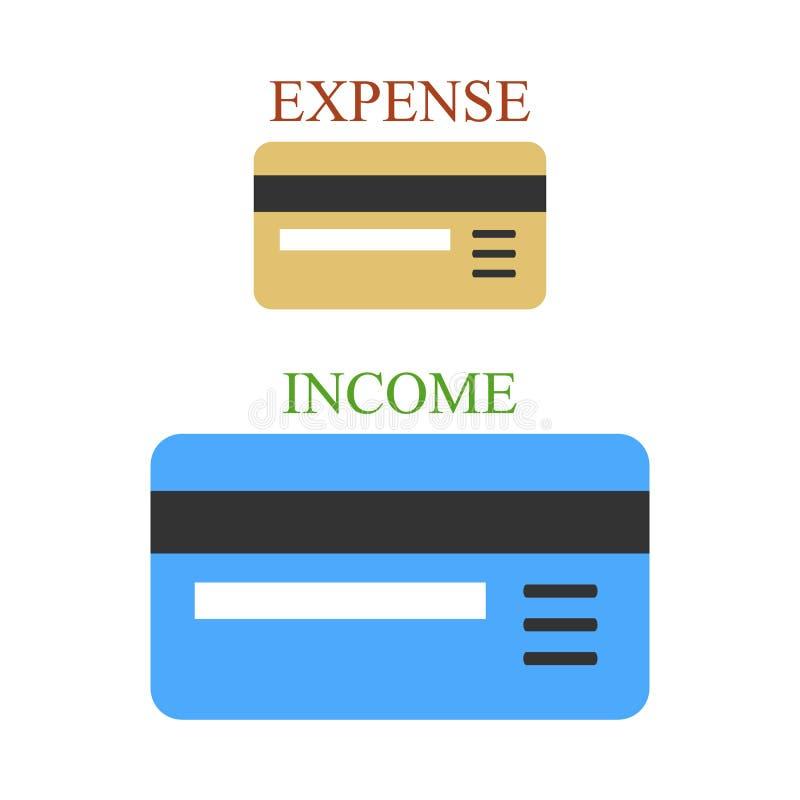 Dwa bank karty dochód i koszt jak śpiewa ilustracji