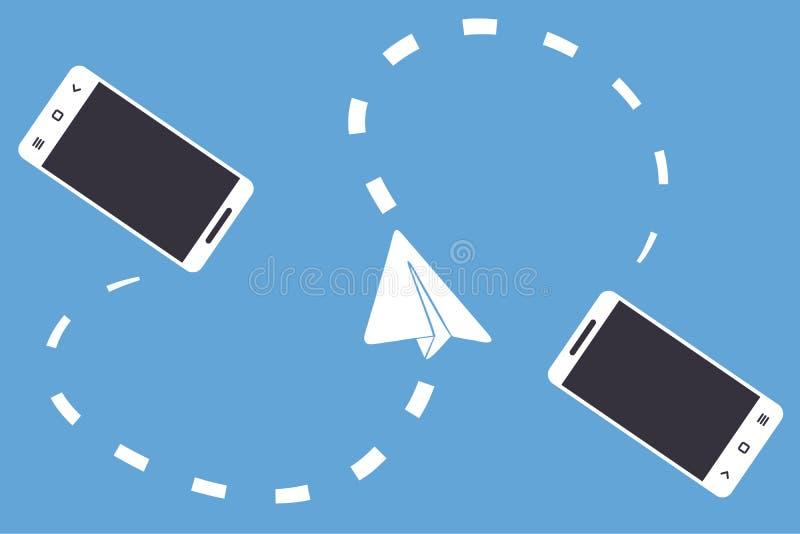 Dwa bezprzewodowego związanego papieru i smartphones heblują na błękitnym tle Pojęcie ilustracja mobilny goniec, komunikacja Vec royalty ilustracja