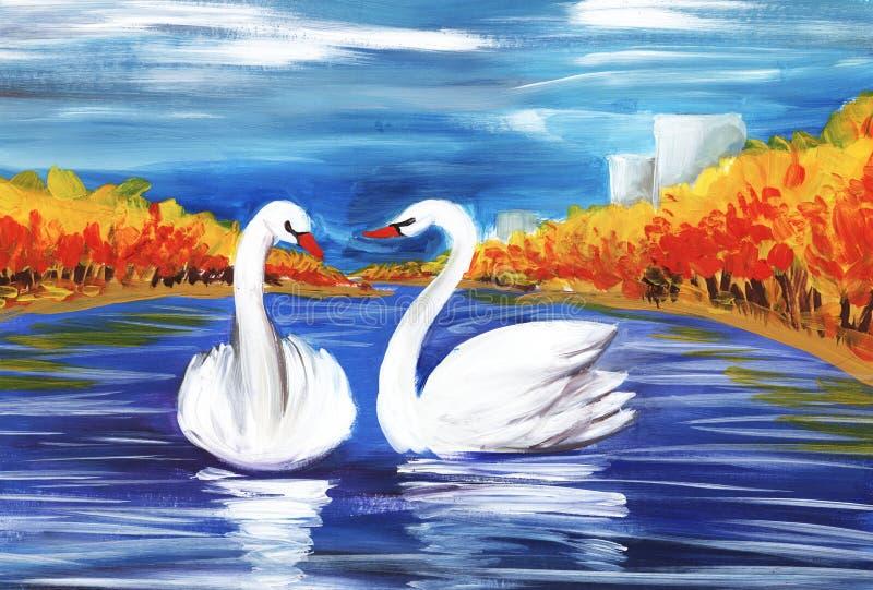 Dwa białego łabędź po środku błękitnego jeziora otaczającego jesieni scenerią Ręka malująca na papierowej ilustracji ilustracji