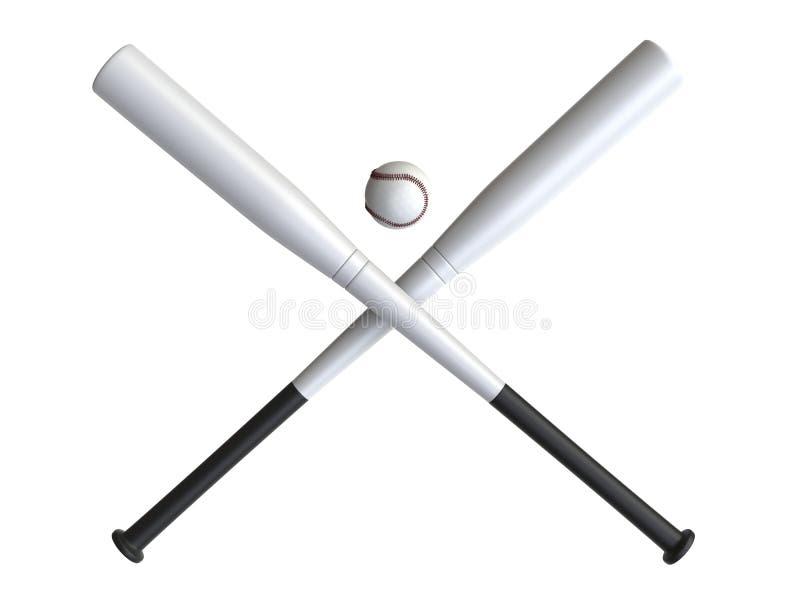 Dwa białego kija bejsbolowego krzyżowali - baseballa w środku fotografia stock