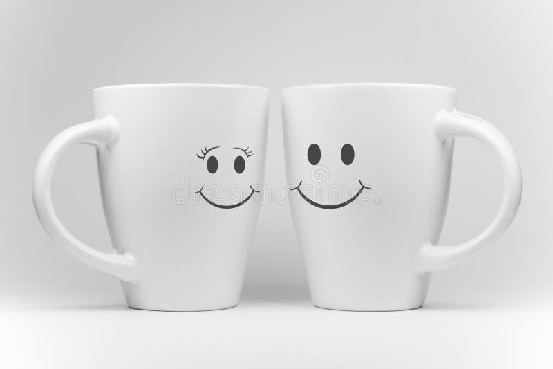 Dwa białego kubka z wyrazami twarzy obrazy stock