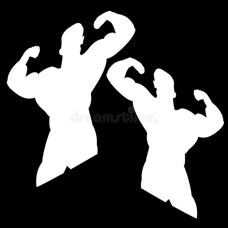 Dwa białej sylwetki męski bodybuilder Na czerni royalty ilustracja