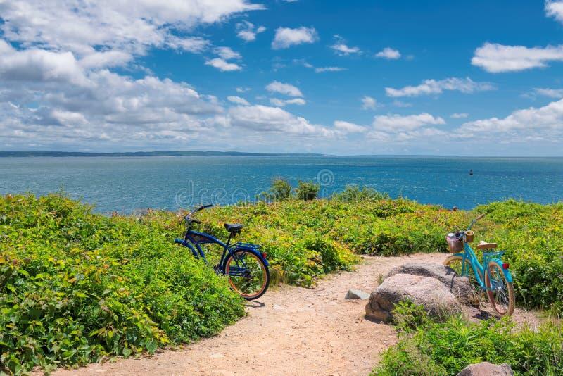 Dwa bicyklu na plażowym śladzie obrazy royalty free