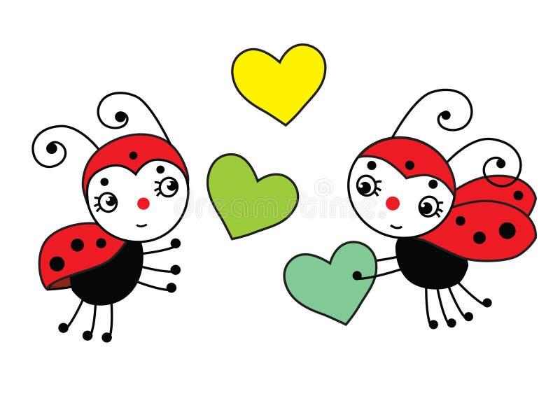 Dwa biedronek miłości czerwony bóg z serce wiosną - ilustracji