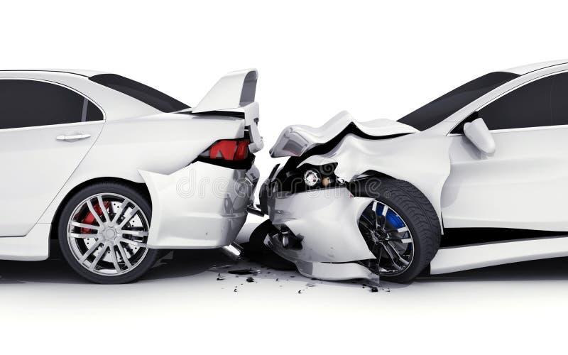 Dwa biel kraksa samochodowa ilustracja wektor