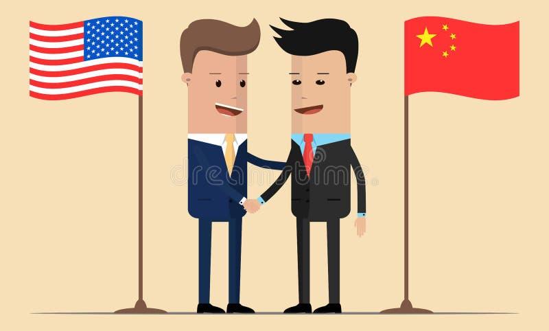 Dwa biznesmenów uścisk dłoni obok amerykanina i chińczyka flag royalty ilustracja