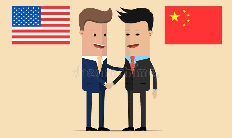 Dwa biznesmenów uścisk dłoni obok amerykanina i chińczyka flag ilustracja wektor