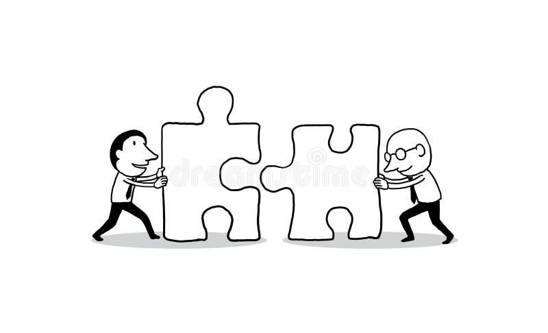 Dwa biznesmen pcha dużego wyrzynarka kawałek w kierunku each inny budynku biznesowa pojęcia budowy grupy łamigłówki praca zespoło ilustracja wektor