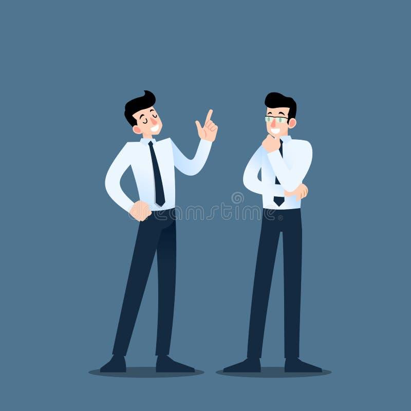 Dwa biznesmena dyskutuje each inny Pracownik rozmowa z drużyną o biznesowych pomysłach o handlowej organizaci lub royalty ilustracja