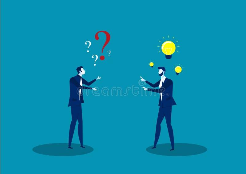 Dwa biznesmena dzielą pomysłu pozytywnego główkowanie i kwestionują rozwiązanie myślącego ilustratora royalty ilustracja