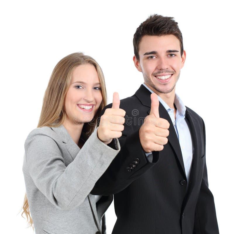Dwa biznesmena one zgadzają się z kciukiem up zdjęcia royalty free