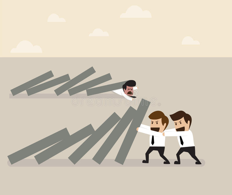 Dwa biznesmena pomaga wpólnie zapobiegać domina spadać ilustracji