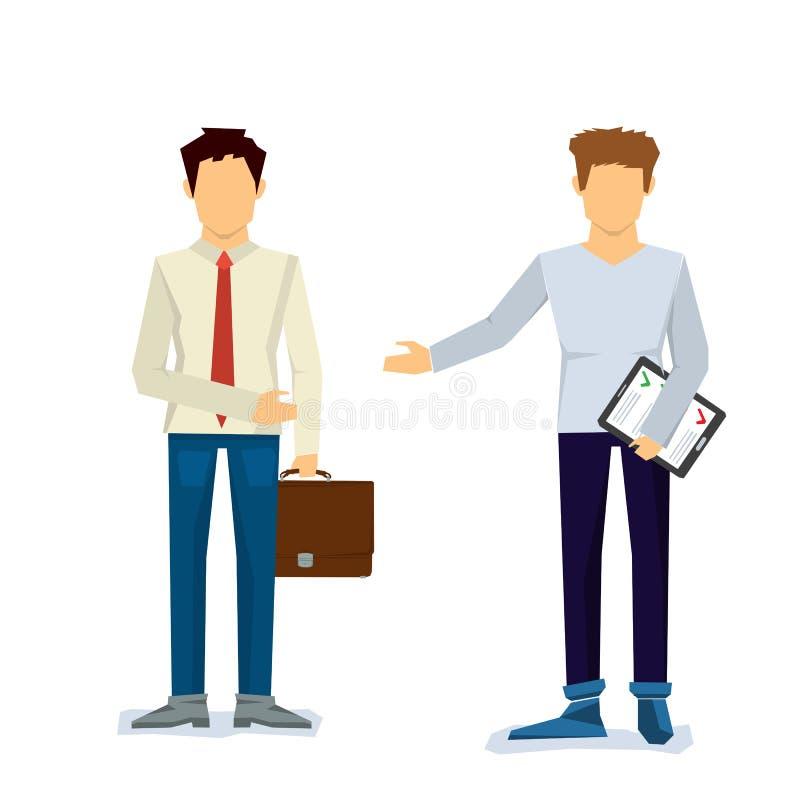 Dwa biznesmena robią kontraktowi ilustracja wektor