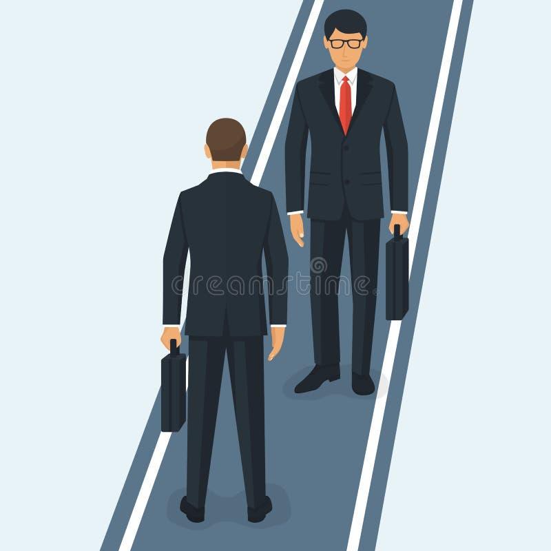 Dwa biznesmena spotyka na wąskiej drodze royalty ilustracja
