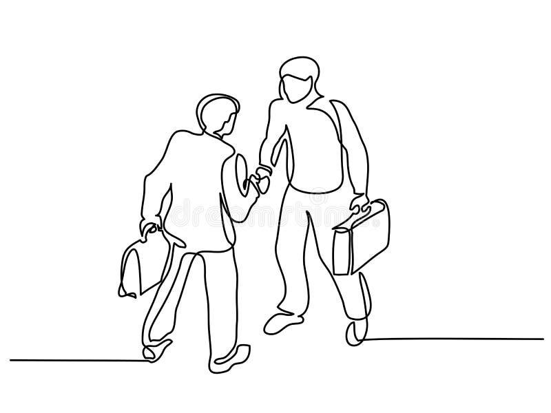 Dwa biznesmena spotyka uścisk dłoni royalty ilustracja