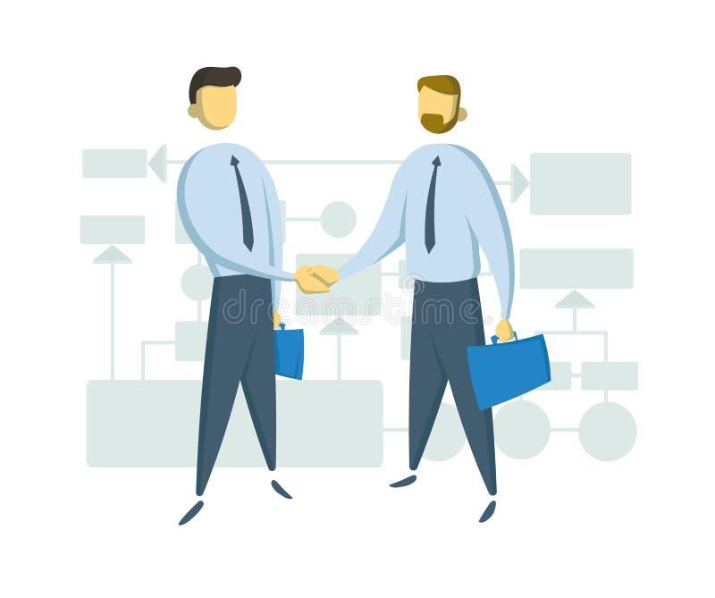 Dwa biznesmena trząść ręki przed schematyczną biznesową mapą Płaska wektorowa ilustracja Odizolowywający na bielu royalty ilustracja