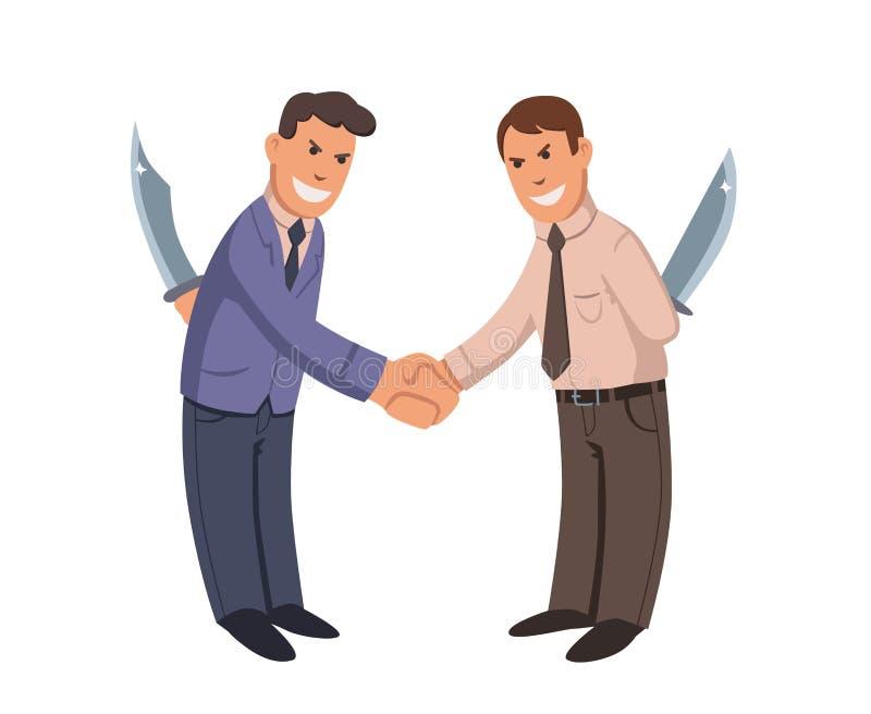 Dwa biznesmena trząść ręki z nożami za ich plecy Hipokryta Płaska wektorowa ilustracja odosobniony royalty ilustracja